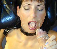 leatherclad mature mama swallowing cum